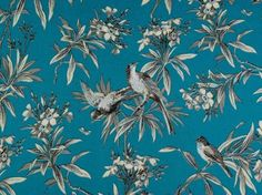 An aqua marine floral double width cotton curtain fabric with typical French toile scenes available from our online fabric shop and fabric warehouse in Northanptonshire.