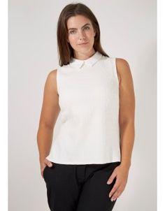 Curves Ivory Jacquard Collar Top