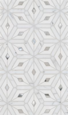Beautiful Snowflake-esque tiles Montreal Petite Water Jet Mosaic by Mosaïque Surface