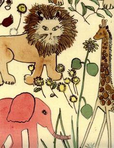 Mr Lion and pink elephant. Luli Sanchez