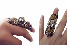 Steampunk ring steampunk armor ring silver by CindersJewelryDesign, $65.00
