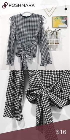 Black and White Gangnam/checkered shirt Black and White Gangnam/checkered shirt •peek-a-boo shoulder cut outs •bow tie waist •never worn Zara Tops Blouses