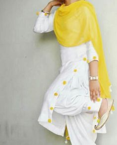 @manidrehar❤ Kurti Neck Designs, Salwar Designs, Blouse Designs, Punjabi Fashion, Indian Fashion, Suit Fashion, Fashion Outfits, Fashion Ideas, Fashion Pants