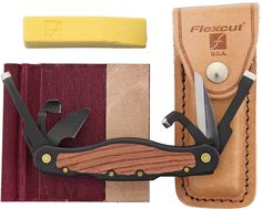 Flexcut Left-Handed Carvin' Jack Knife 6 Different Style Blades, Black Aluminum Handle w/ Wood Inlays, Leather Sheath Carving Knife Set, Wood Carving Tools, Tan Leather Belt, Tool Steel, Knife Sets, Left Handed, Tool Design, Different Styles, Blade