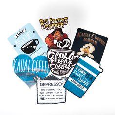Kauai Coffee Assorted Stickers – Kauai Coffee Company LLC Online Store Coffee Gift Sets, Coffee Gifts, Coffee Coffee, Coffee Cups, Kauai Coffee, Hawaiian Coffee, Coffee Heart, Blue Cups, Hula Girl