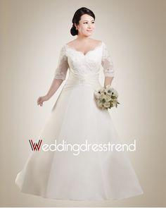 Plump Plus Size Off-the-Shoulder Wedding Dress with Half Sleeve Geek Wedding  aaf6dcd258