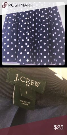 J. Crew Pleated Skirt in polka-dot crepe J Crew navy pleated skirt with cream polka dots. Size 2. Like new condition. Adorable! J. Crew Skirts Mini