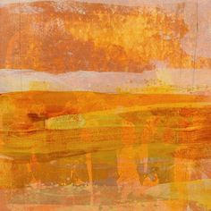 Citrus Dawn 2 Wall Art by Maeve Harris from Great BIG Canvas. Square abstract painting with layering brushstrokes in shades of orange, yellow, white, and grey and faint pencil lines underneath. Citrus Dawn 2 Wall Art by Maeve Harris from Great BIG Canvas.