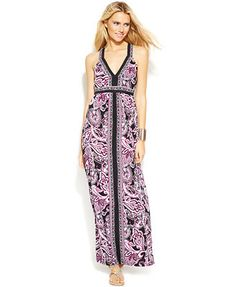 INC International Concepts Printed Cross-Back Maxi Dress