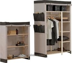Polycotton and Wood 2 Piece Double Wardrobe Pack Cream / Chocolate - New