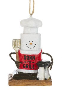S'mores Grilling Snowman Ornament. 1 3/4'' W. x 2 1/2'' H. Item Sm170831.