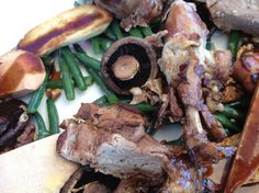 Confit goose with pancetta batons, grilled mushrooms, green beans and toasted walnuts