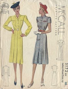 1939 Vintage Sewing Pattern B36 DRESS (R944)