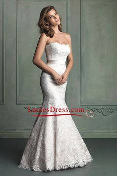 2014 Strapless Mermaid/Trumpet Wedding Dress Lace Bodice With Sash