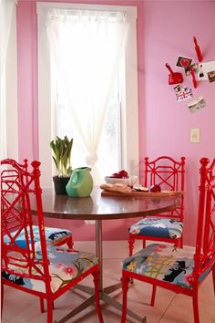 Sneak Peek: Best of Red! The chairs in this Cleveland dining room were found at thrift store for $20 for all four. The chairs were originally white, Danielle Deboe, painted them a bright red and found the fabric for $8/yard. #sneakpeek #red