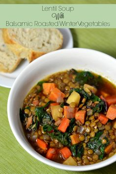Lentil Soup with Balsamic Roasted Winter Vegetables - Recipe at Chew Nibble Nosh