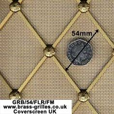 Regency Brass Decorative Grille - 54mm Diamonds Scale Example