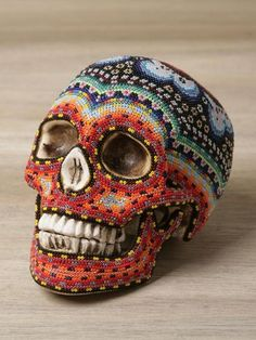 Dia de los Muertos Beaded Skull.
