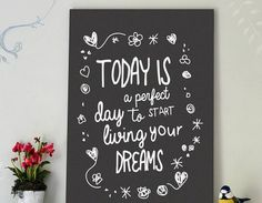 'Living Your Dreams' Typography Print   Contemporary Wall Stickers   Contemporary Wall Stickers
