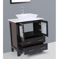 """$860   Bosconi Contemporary 30"""" Single Bathroom Vanity Set with Mirror"""