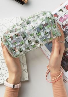 New Look Clear Cactus Make Up Bag