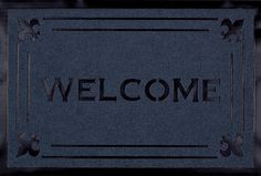 """Welcome Fleur Blue Carved Mat (1'8"""" x 2'8"""") from Michael Anthony Furniture - only $33 and free shipping! Indoor Rugs, Welcome, Carving, Free Shipping, Grey, Blue, Furniture, Products, Gray"""