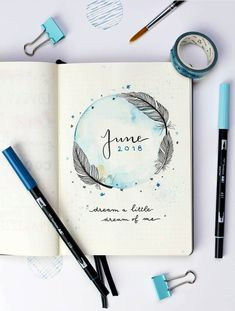 June bullet journal coverage by ig@dutch_dots. | Feather and watercolor inspiration