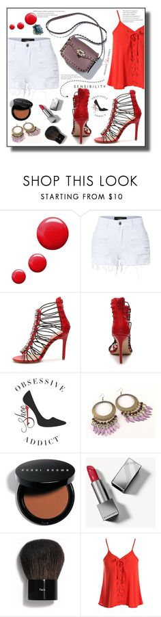 """Obsessive Shoe Addict Penny Loves Kenny Dare Red Sandal"" by markitahamilton3 ❤ liked on Polyvore featuring Topshop, LE3NO, Bobbi Brown Cosmetics, Burberry, Sans Souci and Konstantino"
