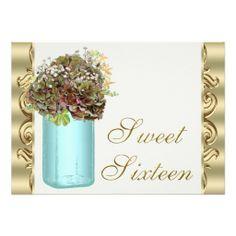 Vintage Hydrangea Mason Jar Sweet Sixteen Party Custom Invites