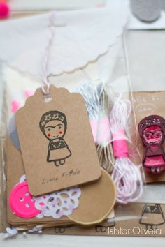 "Hand-carved rubber ""Little Frida"" stamp by Ishtar Olivera Diy And Crafts, Crafts For Kids, Paper Crafts, Stamp Carving, Mexican Party, Happy Mail, Tampons, Box Design, Birthday Party Themes"
