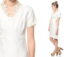 60s Wedding Dress Babydoll CROCHET Lace Collar Mini by ShopExile, $78.00