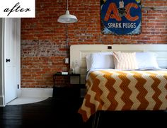 Love that afghan, brick wall, light, and door headboard! Wait a minute! I have an afghan like that!