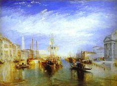 """""""Le Grand Canal, Venise""""  William Turner - huile  Le Grand Canal, Venise est une huile sur toile par le peintre paysagiste anglais romantique, aquarelliste et graveur William Turner. Il a été peint en 1835. A sa seconde visite à Venise, probablement en Septembre 1833, il a créé une série de vues de la ville. Cette peinture (91 x 122 cm) se trouve actuellement au Metropolitan Museum of Art, New York."""