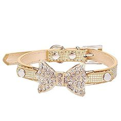 Cute PetBling Rhinestone Pet Cat Dog Bow Tie Collar Necklace Jewelry for Small or Medium Dogs Cats Pets Female Puppies Chihuahua Yorkie Girl Costume Outfits, Light and Adjustble Buckle Golden XS - http://www.thepuppy.org/cute-petbling-rhinestone-pet-cat-dog-bow-tie-collar-necklace-jewelry-for-small-or-medium-dogs-cats-pets-female-puppies-chihuahua-yorkie-girl-costume-outfits-light-and-adjustble-buckle-golden-xs/