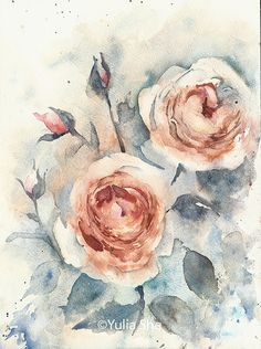 Roses watercolor original painting isolated 9x12 by YuliaShe