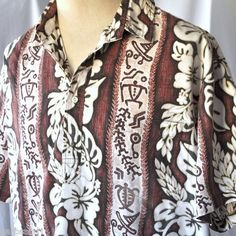 Orchids Tribal Turtle Reverse Pattern Pullover XL Hawaiian Shirt Nui Nalu Floral