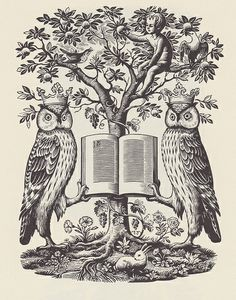 owls from 'The Book Guide', engraving by Joan Hassall (1947)