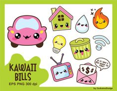50% OFF, Kawaii clipart, bill due clipart, light bulb clipart, car clipart, gas clipart, garbage clipart, house clipart, Commercial use