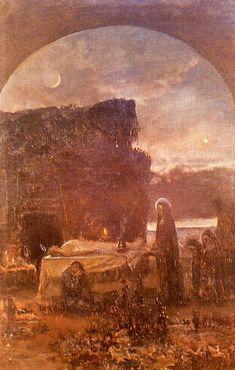 El santo entierro. Boceto. Museo de Bellas Artes. Valencia. Obra de Antonio Muñoz Degrain