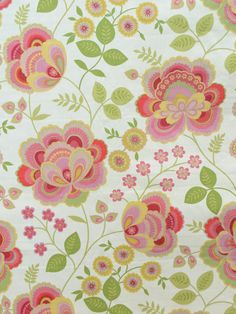 TAHLA WATERMELON #jacobean #print-fabrics #red-pink-purple