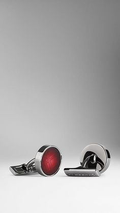 Burberry Maroon Check Enamel Cufflinks - Round cufflinks with check enamel insert. Polished metal frame and links. Discover men's tailoring at Burberry.com
