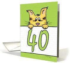 Age Specific Happy 40th Birthday - Scaredy Cat card