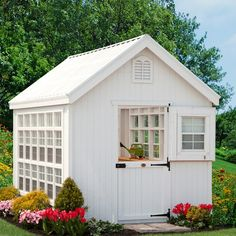 Little Cottage 8 x 16 ft. Colonial Gable Greenhouse with Optional Floor Kit - Crafted from wood, the Little Cottage 8 x 16 ft. Colonial Gable Greenhouse with Optional Floor Kit is not only a beautiful addition to your backyard,. Diy Storage Shed Plans, Backyard Storage Sheds, Wood Shed Plans, Outdoor Storage, Storage Ideas, Petits Cottages, Little Cottages, She Sheds, Diy Garden
