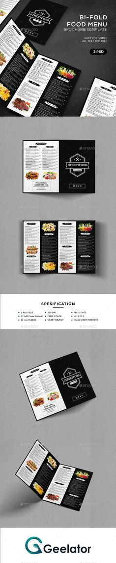 BiFold #Food #Menu #Brochure Template - Food Menus Print Templates Download here: https://graphicriver.net/item/bifold-food-menu-brochure-template/20012067?ref=alena994