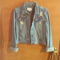 Doll house jean jacket Never been worn, studded jean jacket Jackets & Coats Jean Jackets