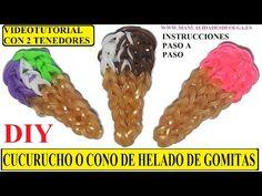 COMO HACER UN CUCURUCHO O CONO DE HELADO DE GOMITAS (LIGAS) CHARMS CON DOS TENEDORES. VIDEOTUTORIAL - YouTube