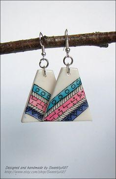 Zentangle earrings hand painted triangle geometric by SweetlyART, $15.00