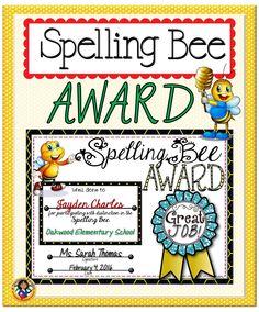 ... Bee on Pinterest   Bee Certificate, Spelling Bee Words and Spelling
