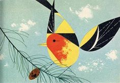 gold bird on a pine branch - charley harper