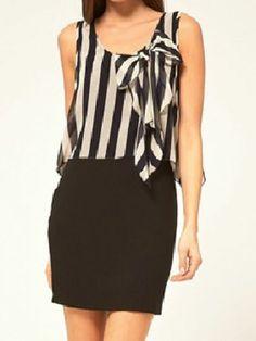 Black Round Neck Sleeveless Broken Stripe Bow Chiffon Dress